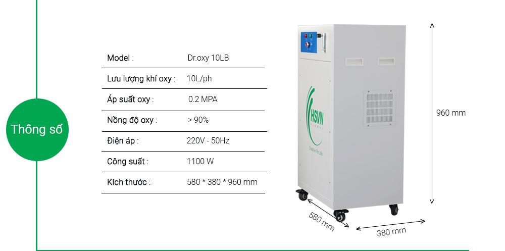 thống số chi tiết máy tạo oxy công nghiệp 10LB