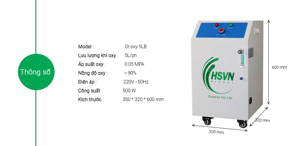 thông số kỹ thuật chi tiết máy tạo oxy công nghiệp Droxy 5Lb