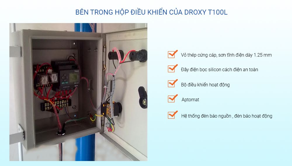 hộp điều khiển máy tạo oxy công nghiệp trần Droxy t100L