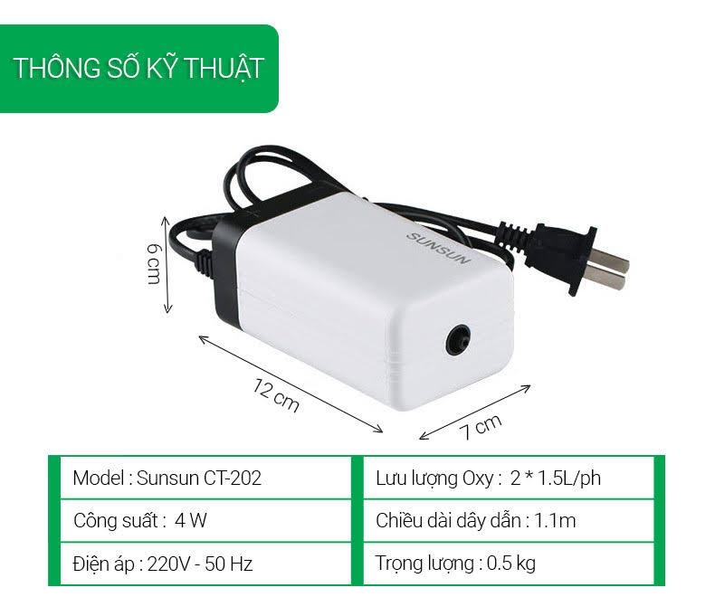 Thông số kỹ thuật máy sục oxy cho bể cá sunsun CT-202