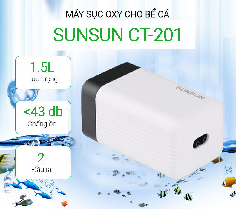 Máy sục oxy cho bể cá sunsun ct-201