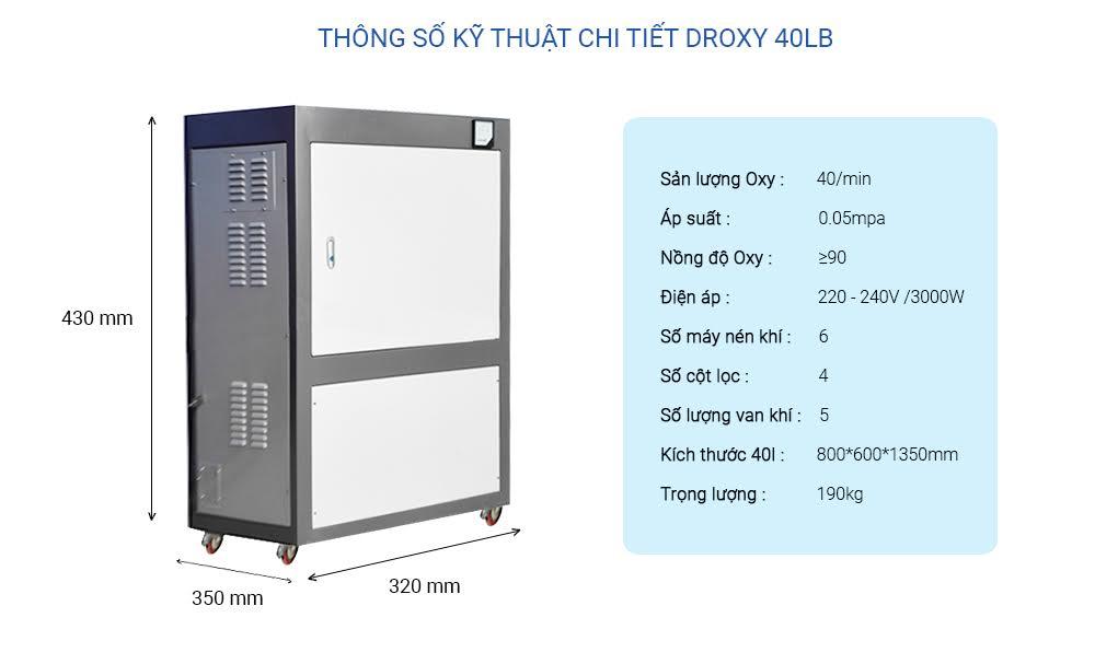 thông só kỹ thuật máy oxy công nghiệp 40LB