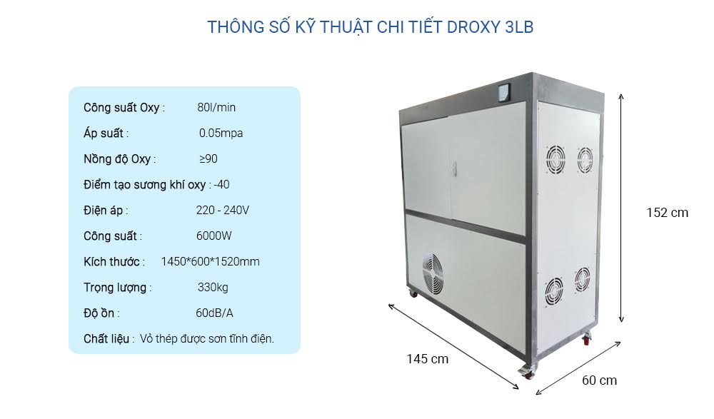 Thông số kỹ thuật may tạo oxy công nghiệp Droxy 80 LB