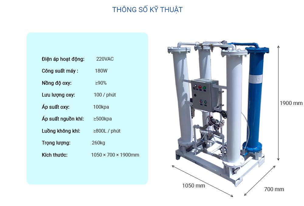 Thông số kỹ thuật máy tạo oxy công nghiệp trần t100l