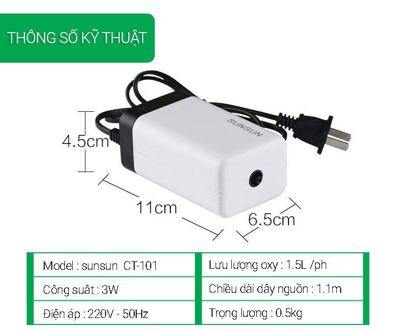 thống số kỹ thuật máy sục oxy cho bể cá sunsun ct-101